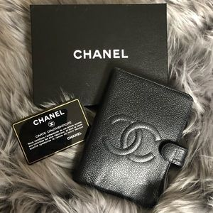 Chanel Black Caviar Leather Agenda Notebook Cover